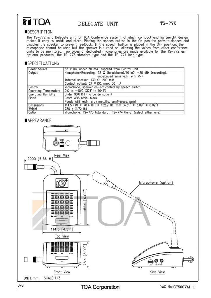 Bản vẽ máy đại biểu TOA TS-772.