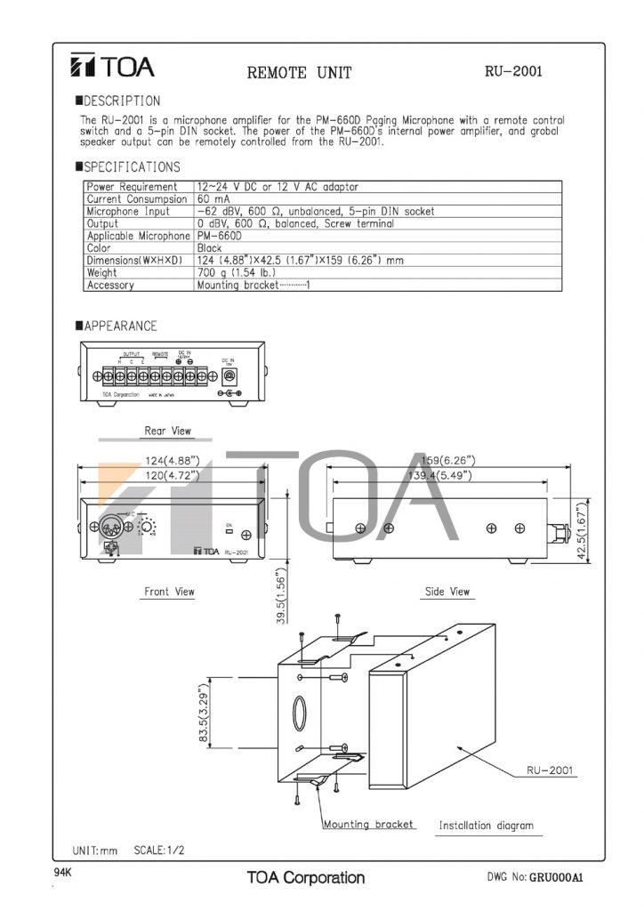 Bản vẽ thiết bị khuếch đại micro PM-660D TOA RU 2001