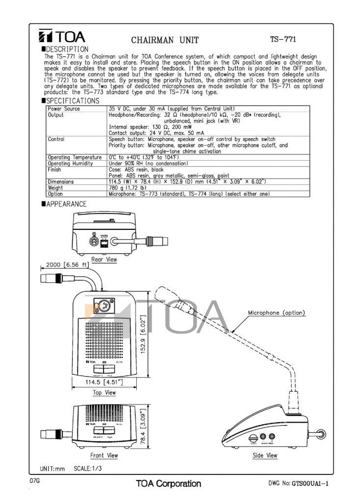 Bản vẽ máy chủ tịch TOA TS-771
