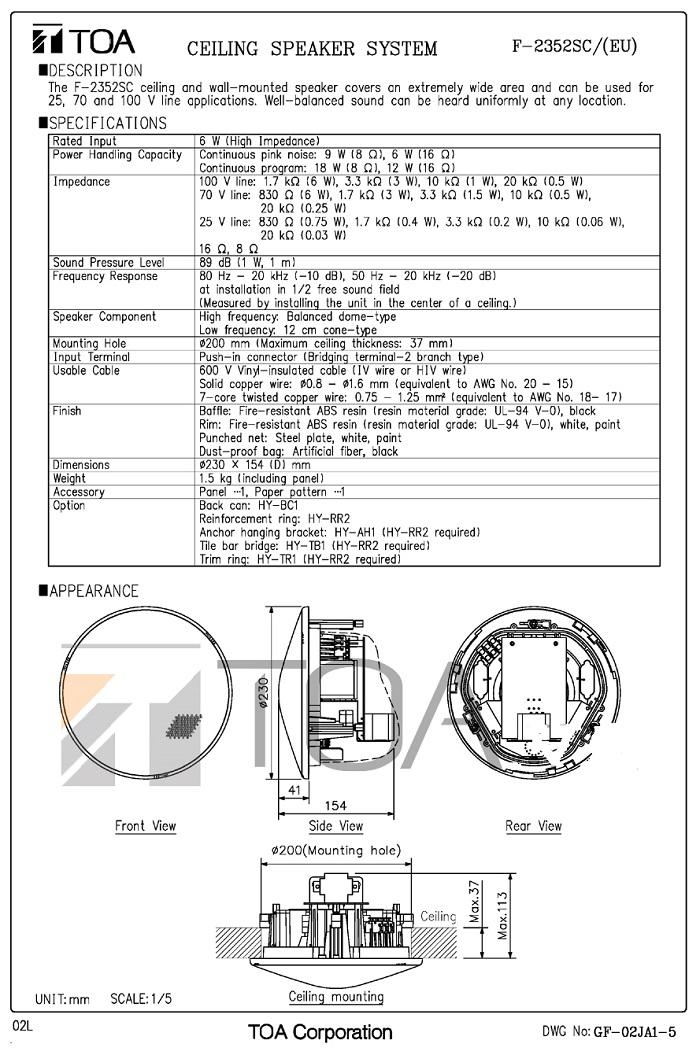 Bàn vẽ Loa TOA F-2352SC