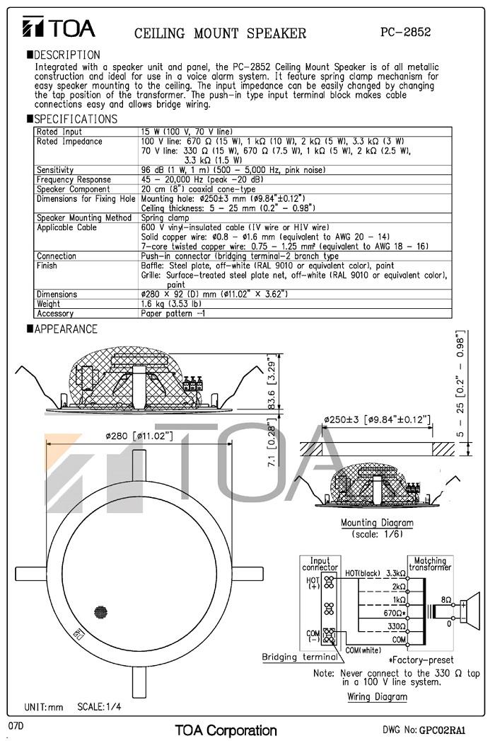 Bản vẽ Loa TOA PC-2852