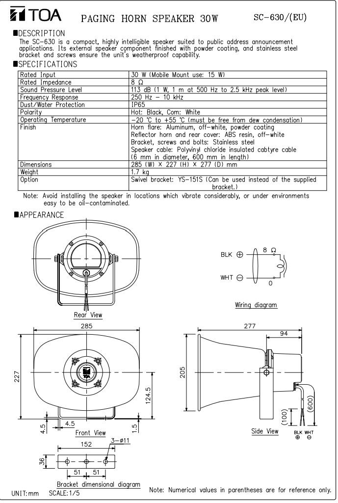 Bản vẽ sản phẩm Loa nén TOA SC 630