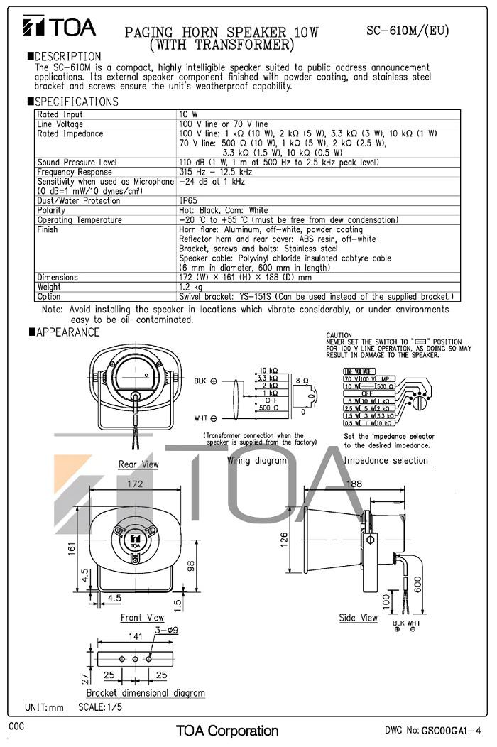 Bản vẽ TOA SC-610M do nhà sản xuất cung cấp