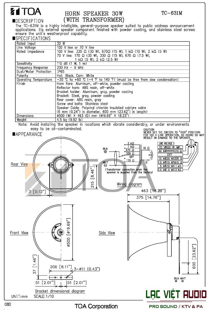 Bản vẽ loa TOA TC-631M