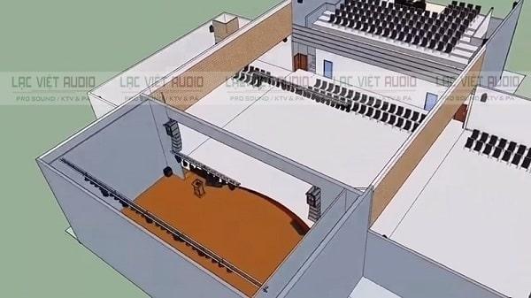 Thiết kế hệ thống âm thanh hội trường có bản vẽ 3D