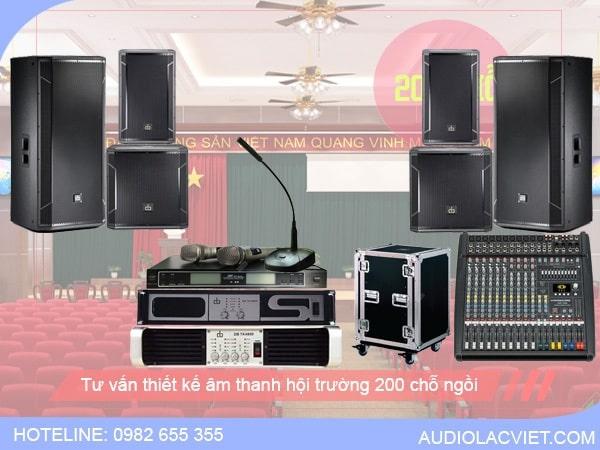 Thiết bị âm thanh hội trường cần có gồm: loa, cục đẩy, mixer,...